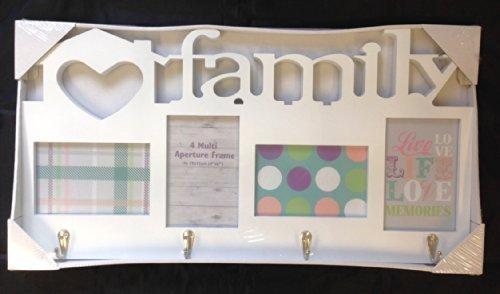 White Family Photo 4 Multi Aperture Frame With Coat Key Wall Hooks ...