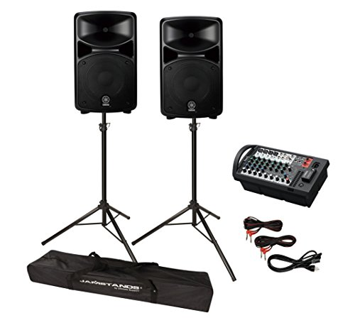Yamaha STAGEPAS 400BT 8-Channel 400W Portable PA System with Bluetooth Bundle with with Ultimate Support JS-TS50-2 JamStands Series Tripod Speaker Stands - PA System Package ()
