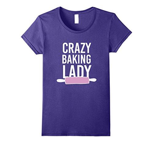 Womens Crazy Baking Lady T-shirt - Sweet Cake Bake Lovers Funny Tee Large
