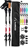 TrailBuddy Lightweight Trekking Poles - 2-pc Pack Adjustable Hiking or Walking Sticks - Strong Aircraft Aluminum - Quick Adjust Flip-Lock - Cork Grip, Padded Strap (Beetle Red)