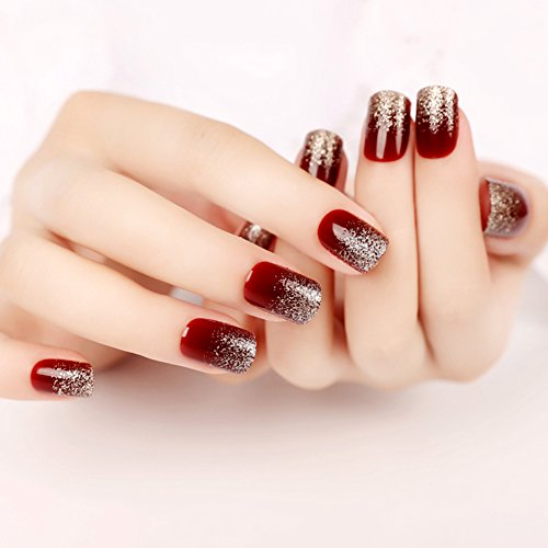 [YUNAI Deep Burgundy Gradient Glitter Fake Nails Art Salon Manicure Beauty Nail Patch False Nails with Design for Women French Full Nail] (Red Fake Nails)