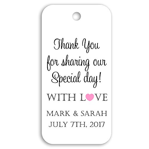 (Thank You for Sharing Our Special Day Personalized Custom Party Wedding Favor Gift Tags - 1.5