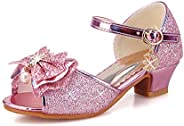 ANBIWANGLUO Girls Sequin Shoes Princess High Heel Shoes Kids Party Pumps