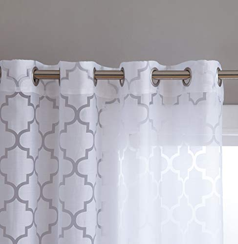 "HLC.ME Sheer Voile Grommet Window Curtain Panels for Bedroom, Living Room & Nursery Room - 84"" inches Long - Provides Privacy & Natural Sunlight - White - Lattice Geometric - 54"" inches Wide"