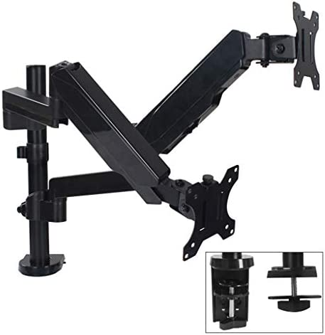 360 ° Rotation Dual Monitor Arm Hauteur du Support réglable for 17 à 32″ écran, Max jusqu'à 8 kg the same level écran, 2 Options de Montage