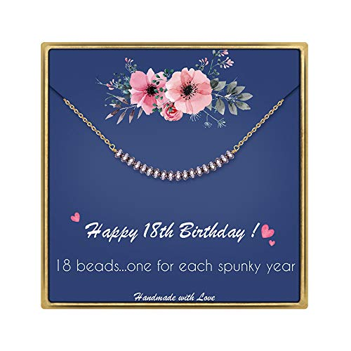 IEFLIFE 18th Birthday Gifts for Girls - Crystal Beads Necklace Girl Birthday Gifts Best Friend Birthday Gifts Beaded Bar Necklace 18 Year Old Girl Gifts Birthday Gifts for Sister, Daughter, Niece (Best Birthday Gift For 18 Year Girl)