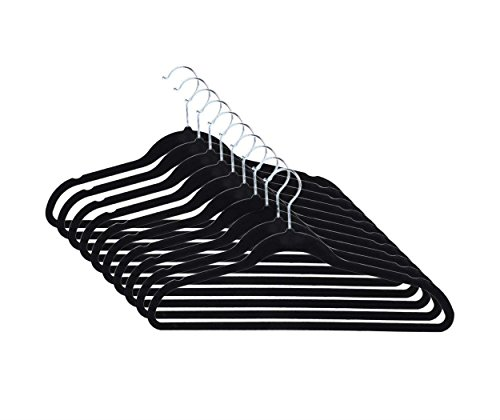 50 PCS Of Set Closet Complete Ultra Thin No Slip Velvet Suit Hangers--Black Clothing Supplies