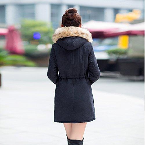 Aro Lora Women's Winter Warm Faux Fur Hooded Cotton-padded Coat Parka Long Jacket US 14 Black by Aro Lora (Image #3)