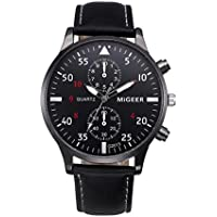 Snowfoller Men's Analog Display Automatic Black Watch Stainless Steel Dial Casual Watch Fashion Analog Quartz Wrist Watch Dress Leather Band (Black)