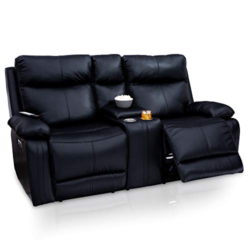 (Seatcraft Allegiance Home Theater Seating Loveseat- Leather - Power Recline - Center Storage Console - Adjustable Powered Headrest and Lumbar - USB Charging - Cup Holders - Black)