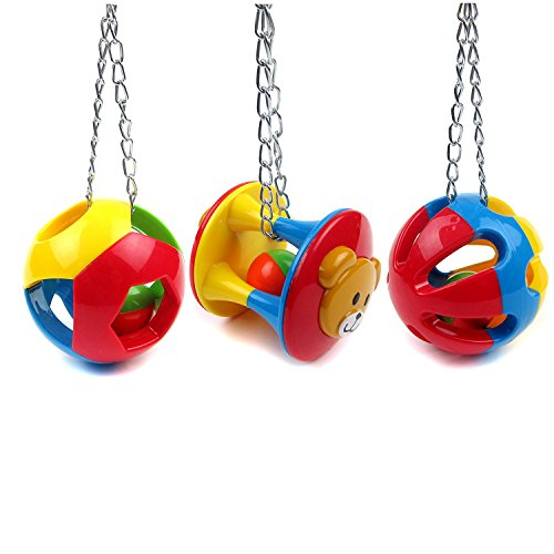 Hypeety Parrot Colorful Ball Toys Cage Hanging Chewing Drew Hanging String Toy with Bell for Parakeet Conure Cockatiel Small medium birds (A+B+C)