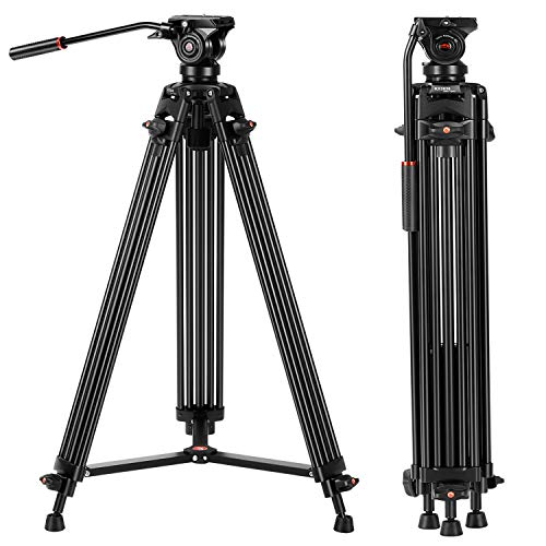 Tripod, COMAN KX3636 74 inch Video Tripod System- Professional Heavy Duty Aluminum Twin Tube Camera Tripod, Q5 Fluid Head, Mid-Level Spreader, Max Loading 13.2 LB, DSLR Camcorder (Professional Camcorder Tripod)