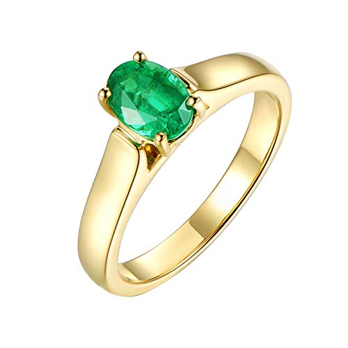 - Adisaer-Women's Ring 18ct Yellow Gold Emerald 0.85ct Green Oval