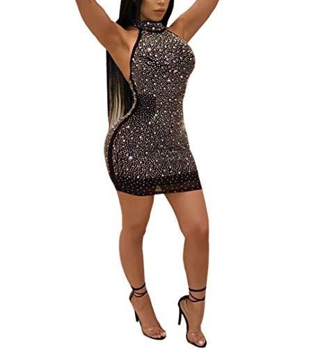 Nhicdns Women Sexy Bodycon Sleeveless Diamonds Mesh Halter Beaded Rhinestones Backless Clubwear Party Mini Dress