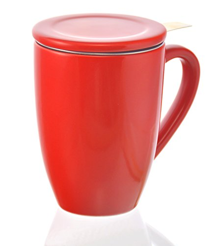GROSCHE Kassel Tea Infuser Mug/Teacup with Stainless Steel Infuser, 330ml/11.2 oz, red