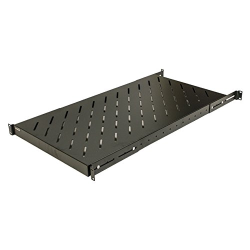 - NavePoint 1U 19-Inch Fixed 4-Post Rack Mount Server Shelf with Adjustable Depth from 18-42