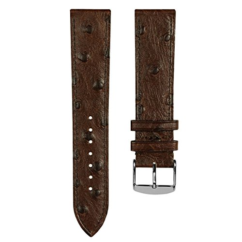 Geckota Genuine Italian Leather Dress Watch Band, Dark Brown Ostrich, Polished Buckle, (Brown Dress Leather Watch Band)