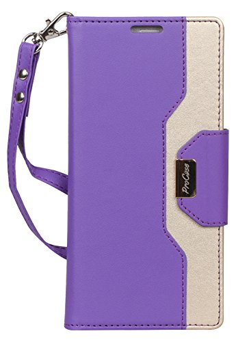 ProCase Wallet Case for Galaxy Note 9, Flip Kickstand Case with Card Slots Mirror Wristlet, Folding Stand Protective Cover for Samsung Galaxy Note 9 2018 -Purple