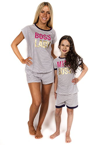 Peace Love & Dreams Mommy & Me Matching Boss Pajamas - Navy Stripe (Girl, Girl 2T) -