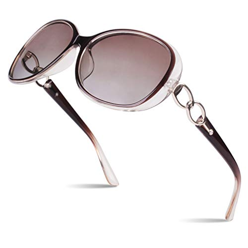 SUNIER Luxury Womens Polarized Sunglasses Retro Eyewear Oversized Shades UV Protection Sun Glasses Transparent Brown Frame Gradient Browm Lens ()