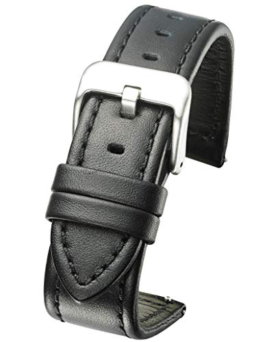 Genuine Waterproof Leather Watch Band with Quick Release Spring Bars - Black Leather Watch Strap 22mm (Band 22mm Short Watch Leather)