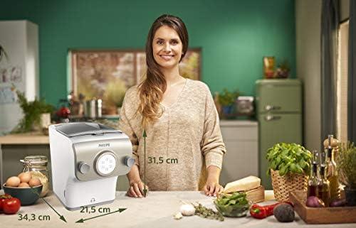 Philips HR2381/05 Machine à pâte Avance Collection, balance intégrée, 6 disques de forme - couleur blanc & perle