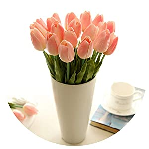20Pic Pu Real Touch Artificial Flower Tulips Bouquet Fake Holding Flowers Bridal for Home Wedding Wreath Bride Decoration Tulip 114