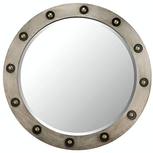 (Varaluz Casa 405A40 Brad Framed Beveled Mirror, Antique Silver/Brass)
