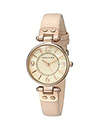 Anne Klein Women's 109442RGLP Rose Gold-Tone Watch with Leather Band