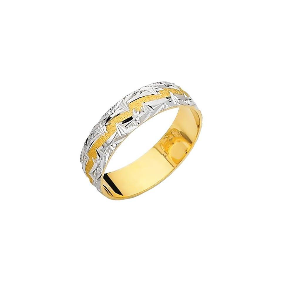 14K Yellow and White Two Tone Gold Satin Milgrain Engraved Designer Wedding Band Ring for Men & Women   Size 10