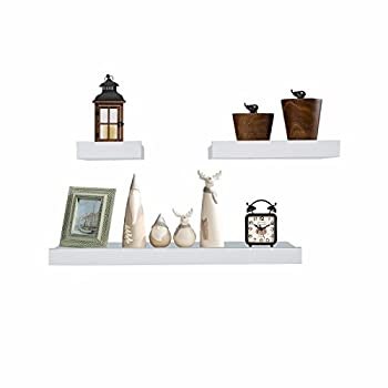 Coismo Set of 3 Multi length Floating Shelves, White