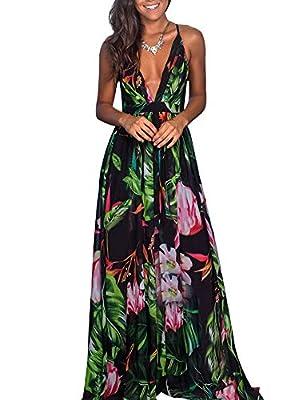Maxi Dresses for Women - Sexy Wrap V Neck Chiffon Floral Beach Sun Dresses