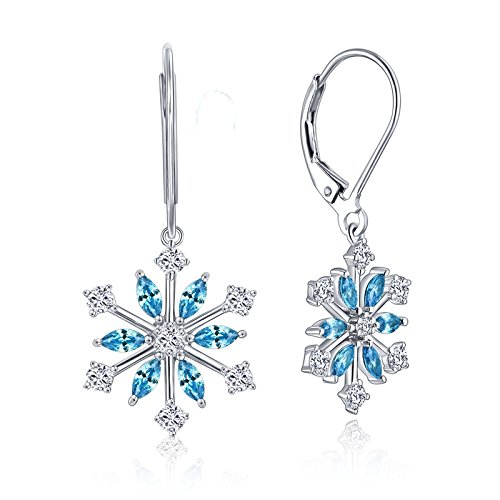Snowflake Earrings - JO WISDOM 925 Sterling Silver Blue Cubic Zirconia Snowflake Leverback Earrings Drop & Dangle Earrings