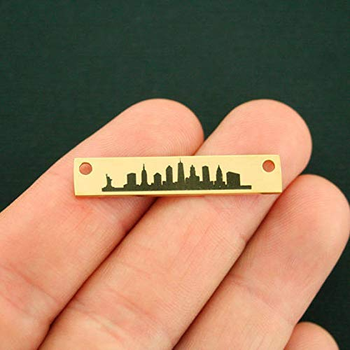 New York Skyline Connector Charm Stainless Steel Bar - Gold Plated - LCON285GOLD