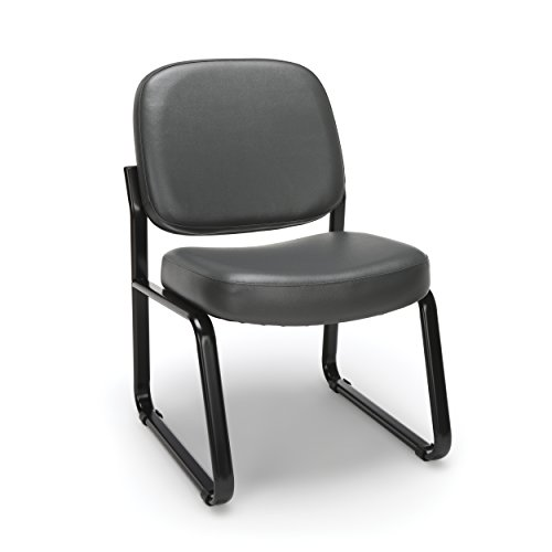 (OFM Armless Reception Chair - Anti-Microbial/Anti-Bacterial Vinyl Guest Chair, Charcoal (405-VAM))