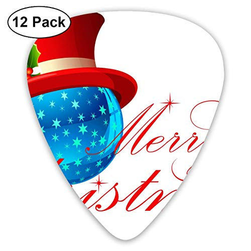 Custom Guitar Picks, Xmas Merry Christmas Crystal Ball Red Hat Guitar Pick,Jewelry Gift For Guitar Lover,12 Pack ()