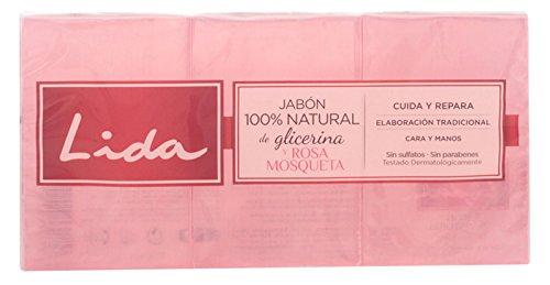 LIDA JABÓN NATURAL GLICERINA Y ROSA MOSQUETA LOTE 3 piezas 8411135420298
