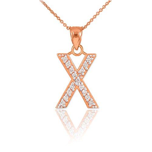 """10 ct 471/1000 Or Rose Initiale """"X"""" Diamant Initiale Pendentif Collier"""