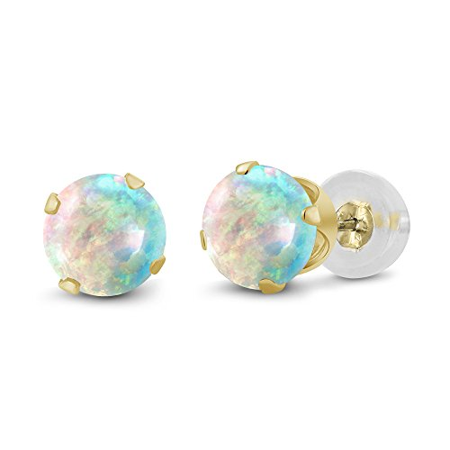 Gem Stone King 0.50 Ct Round Cabochon 4mm White Simulated Opal 14K Yellow Gold Stud Earrings