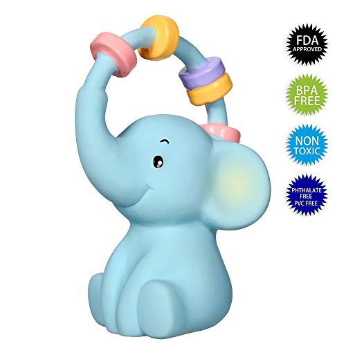 (Baby Teething Toys, 100% Natural Rubber, Embedded Bell, No Mold, FDA, Non Toxic, ASTM F963-16 /-17, CPSIA, Elephant Infant Teether)