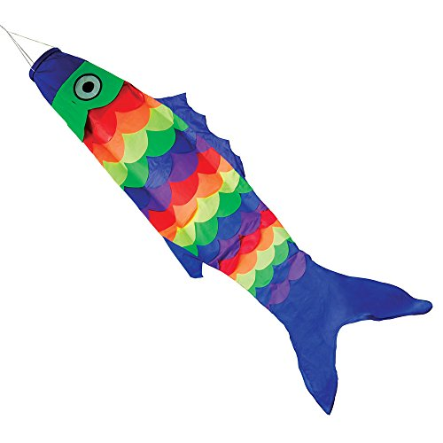 Bits and Pieces - Giant 54'' Rainbow Fish Windsock - Durable Long Lasting Bright Colors - Fun Tropical Fish Decoration - Hanging Outdoor Lawn and Garden Décor by Bits and Pieces
