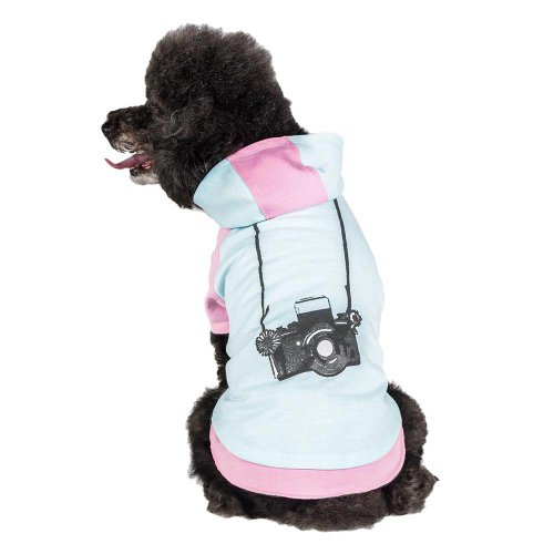 Blueberry Pet Cotton Dog Camera Hoodie in Mint & Hot Pink, Back Length 10
