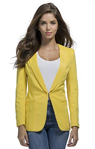 JHVYF Womens Casual Basic Work Office Cardigan Tuxedo Summer Blazer Open Front Boyfriend Jacket Yellow Tag 5XL/US 14