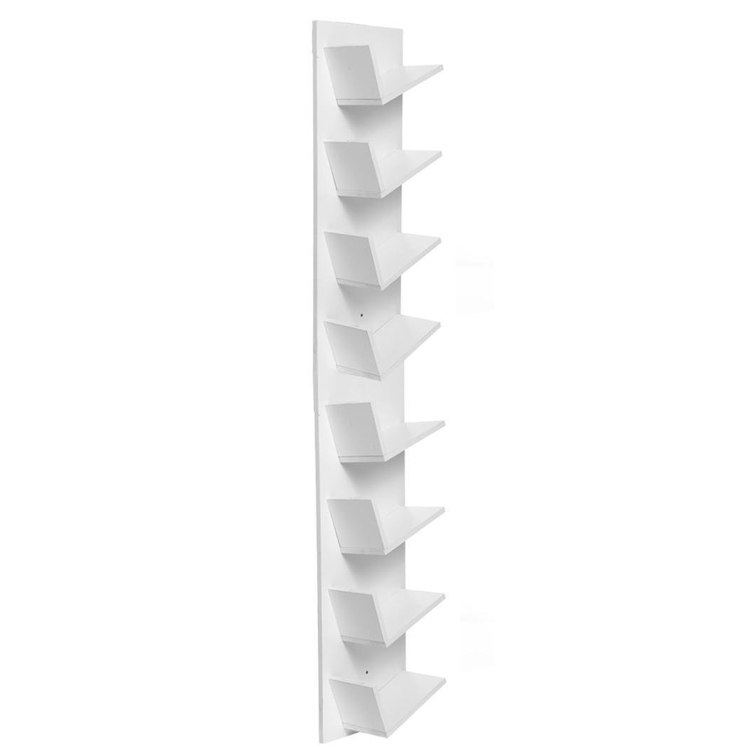 Kindes New Home Wall Mounted Bookshelf,10-Shelf Tree Bookcase, Media Cabinet Book Shelf Display Storage Rack for CDs, DVDS, Movies & Books, White