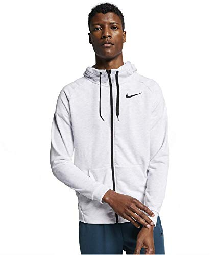 Nike Mens Dri-Fit Full Zip Training Hoodie Birch Heather/Black 860465-051 (Medium)