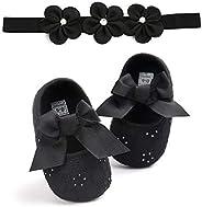 Newborn Shoes Baby Girl Bowknot Princess Soft Sole Mary Jane Flats Prewalker Headband Set 0-18M