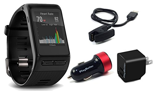 Garmin Vivoactive Hr  Regular  Multi Sport Gps Smartwatch Bundle With Playbetter Usb Wall   Car Charging Adapters   Touchscreen With On Wrist Heart Rate