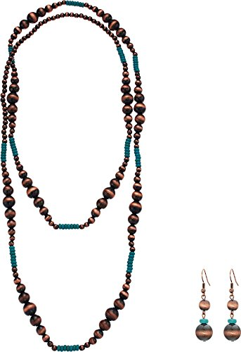 M&F Western Women's Copper & Turquoise Bead Necklace/Earrings Set Copper/Turquoise One Size