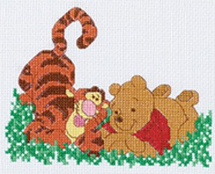 Daydreaming Pooh & Tigger Counted Cross Stitch Kit (Stitch Cross Tigger)