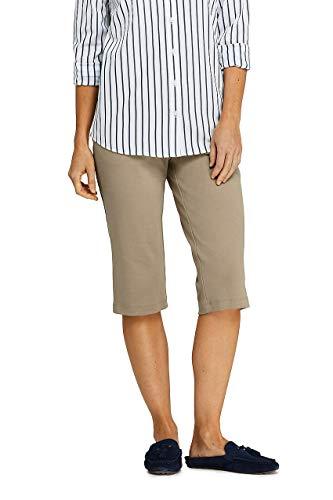 Lands' End Women's Sport Knit Elastic Waist Pull On Capri Pants Khaki ()